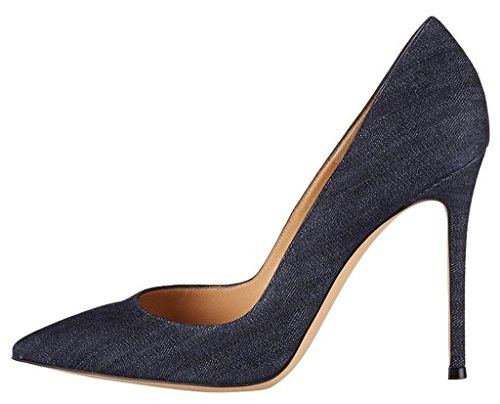 Slip Heels Elegantes Pumps EDEFS Denim spitze Zehen High Pumps On Kleid Womens Stiletto qq8awBX