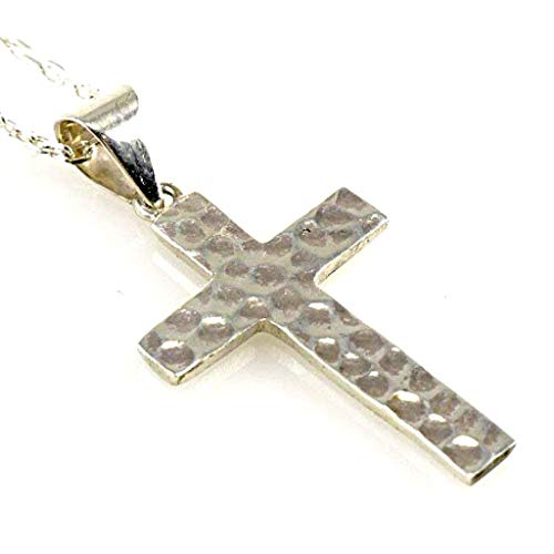 Sterling Silver Hammered Cross Pendant Necklace 16+2 inches(40+5cm) Chain