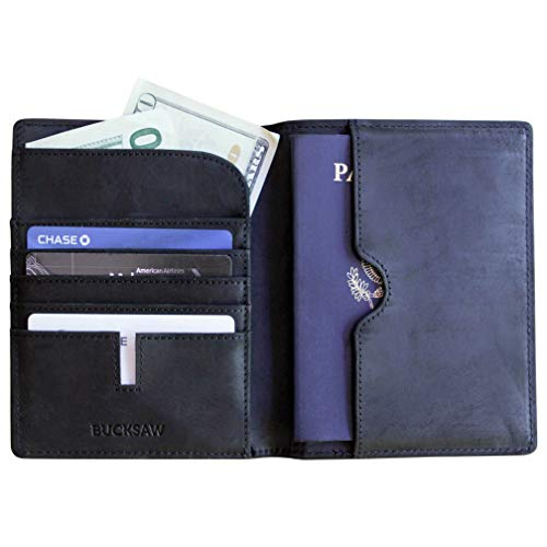 - Black RFID Blocking Premium Full-Grain Leather Passport Wallet Holder by Case Elegance