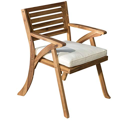 Teak Dining Chair Cushions - Christopher Knight Home Helen Outdoor Teak Finish Acacia Wood Arm Chair (Set of 2)