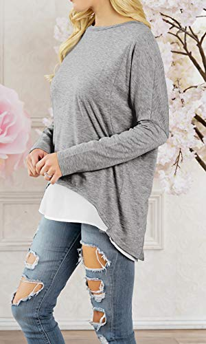 Femmes Automne Manches Rond Fashion Shirts et Tops Irregulier Longues Deux Col Shirts Hauts Blouse Jumper T Printemps Tee Sweat Faux Pullover Pulls Morceaux Gris Casual New twzCZ5q