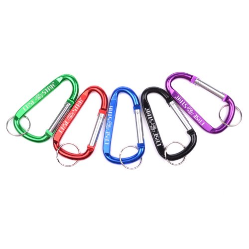 Case Star ® Pack of 5pcs (Black,Green,Purple,Red,Blue) Aluminum Carabiner with keyring (not for climbing) with Case Star Velvet Bag