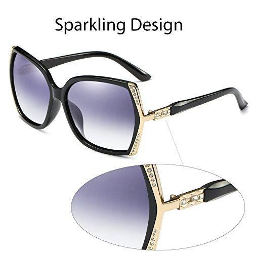 Oversized Polarized Sunglasses for Women Polarized Vintage Luxury Eyewear (Black/Grey) by BAVIRON (Image #3)