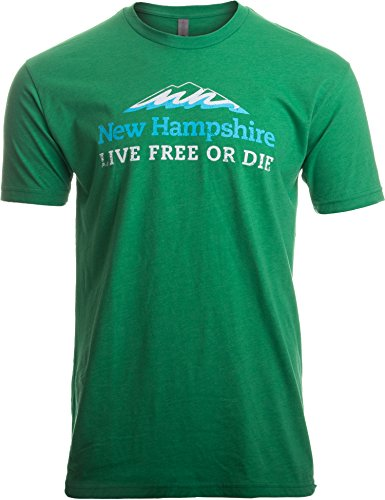 New Hampshire: Live Free or Die, Vintage New England Road Sign Men Women T-Shirt-(Adult,XL)