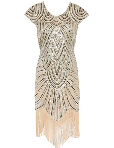 [Cresay Women's 1920s Gatsby Diamond Sequined Embellished Fringed Flapper Dress -XL] (Gatsby Outfits)
