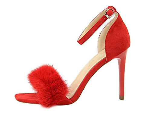 Gamuza Banquete De Mujer Para Tacón Red Alto Zapatos Sandalias 0xw4nOHx