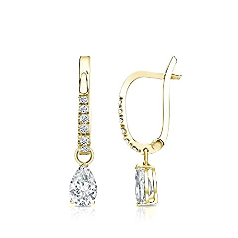 14k Yellow Gold Dangle V-End Prong Pear-shape Diamond Earrings (0.62 ct, H-I, I1-I2) - I1 Pear Earrings
