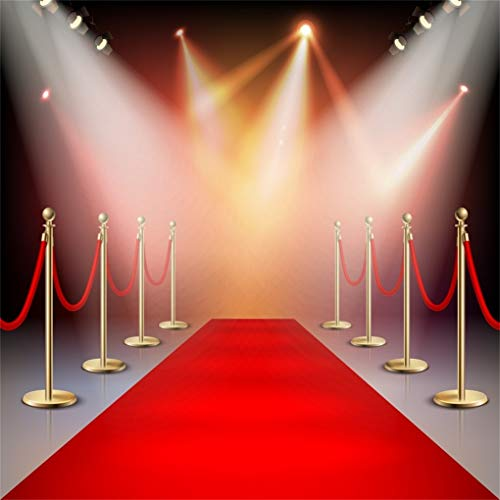 Yeele 8x8ft Photography Backdrop Hollywood Stage Lights Red Carpet Background Photo Shoots Luxury VIP Royals Club Party Event Decoration Banner Adult Kids Photo Booth Vinyl Studio Props -