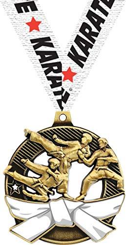 空手ホワイトベルトメダル - 2.25インチゴールド空手メダル賞 B07GBGN4QJ