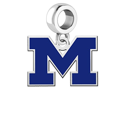 University of Michigan Wolverines Silver Logo and School Color Dangle Charm Fits All European Style Charm (Michigan Wolverines School Charm)