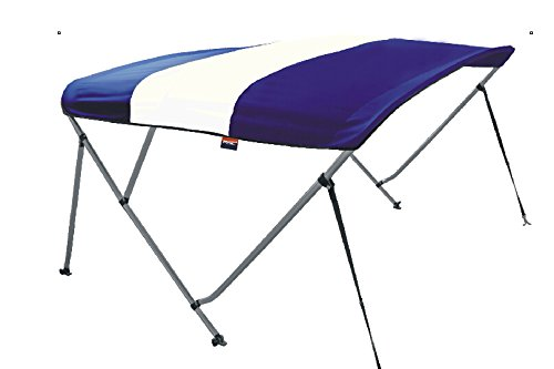 Msc 3 Bow Bimini Boat Top Cover With Rear Support Pole And Storage Boot  White Navy Blue  3 Bow 6L X 46 H X 79  84 W