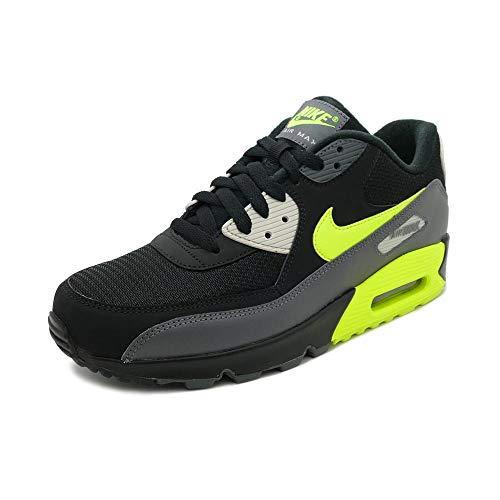 Nike Mens Air Max 90 Essential Running Shoes Dark Grey/Volt/Black/Bone AJ1285-015 Size 7.5