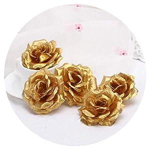 One Piece 8cm Gold Artificial Rose Flower Head Wreath Fake Flowers Wedding Decoration Box Decor Flores 107