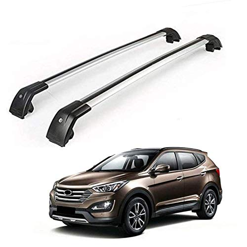 (MotorFansClub Crossbar Cargo Bars Lockable Top Roof Luggage Rack for Hyundai Santa Fe 2013 2014 2015 2016 2017 2018 US Stock)