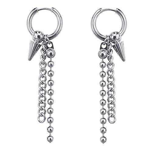 Platinum Plating (Korean Hoop Earrings Platinum Plating Drop Dangle Earring Tassel Cross Taper Bead Round Earrings for Women (#7))