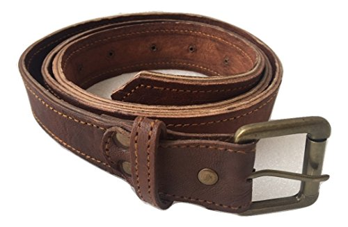 Vintage Full Grain 100% Leather Distressed Style Singel Prong Buckle Belt Strap 1 1/2