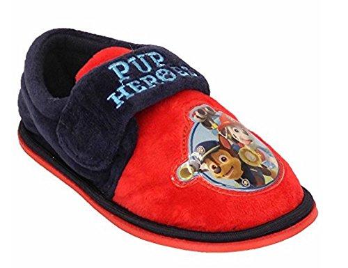 Jungen Kinder Kleinkinder Klettband Paw Patrol Slipper Schuhe By Nickelodeon Rot/Marineblau - PAWHEROES
