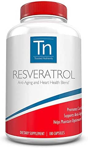 Trusted Nutrients Resveratrol Supplement - Anti-Aging and Heart Health Blend – with Trans Resveratrol, Grape Seed Extract, Acai Berry and Maqui Berry – 1000 mg 180 Vegetarian Capsules