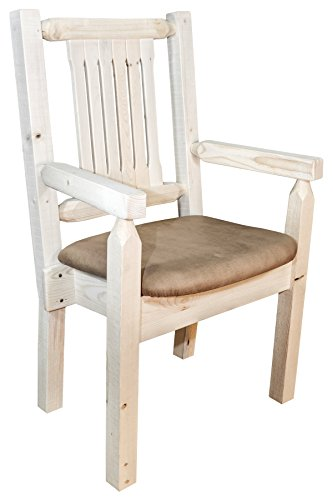 (Montana Woodworks MWHCCASCNSADD Homestead Collection Captain's Chair, Ready to Finish with Upholstered Seat, Saddle Pattern)