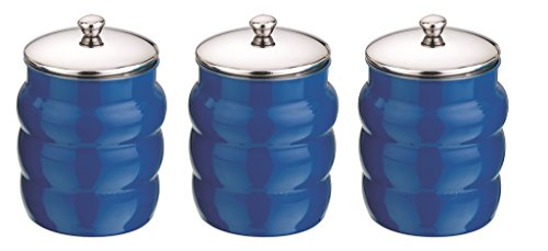 Mushroom Canister Set - Kitchen Kemistry, Ribbed Stainless Steel with Mushroom Lid Set, 3 Pieces, Cobalt Blue