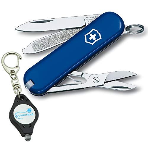 Victorinox Swiss Army Classic SD Folding Pocket Knife with Lumintrail Keychain - Keychain Army Swiss