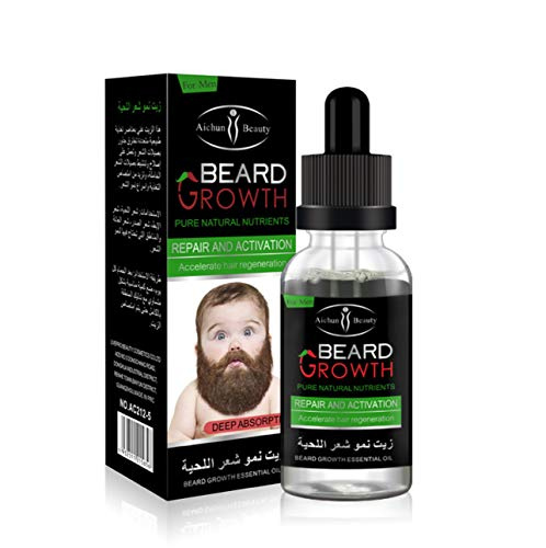 AICHUN BEAUTY Beard Oil Mustache Hair Growth Pure Natural Nutrients Skin Cleansing Vitamins Grapefruit Seed Oil Ginger Andrea Hair Growth 30ml