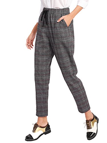 SweatyRocks Women's Vintage Plaid Casual Pocket Pants with Drawstring Elastic Waist Grey S (Plaid Pants Womens)