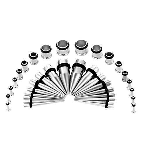 CABBE KALLO 36PCS Ear Gauge Stretching Kit Stainless Steel Tapers and Plugs Set Eyelet 14G-00G (Silvertone)