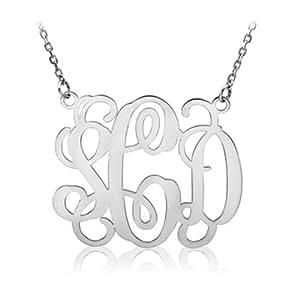 14k white gold monogram necklace personalized. Black Bedroom Furniture Sets. Home Design Ideas
