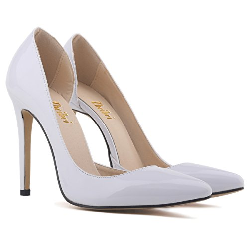 Zbeibei Pumps Court Women High Work Heels Women's Shoes Style White PU Corset Faux Leather 868qrzP