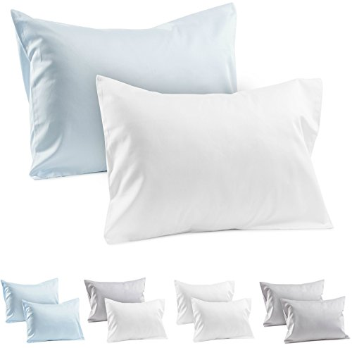 2 Toddler Pillowcases 100% Cotton Sateen Toddler Pillow Cases, 400 TC Pillowcase, Covers 14'x19', or 13'x18' Toddler Baby Travel Pillows Naturally Hypoallergenic Envelope Style Cases Blue & White