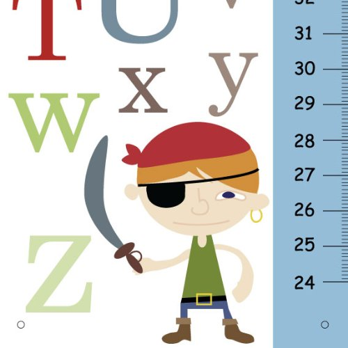 (ABC Alphabet Personalized Growth Chart for Boys Bedroom, with Blue Pirate Nursery Wall Art )
