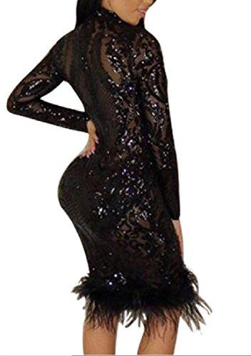 Confortables Femmes Épissures Sequin Profonde Sexy Automne V-cou Robe Club D'hiver Noir