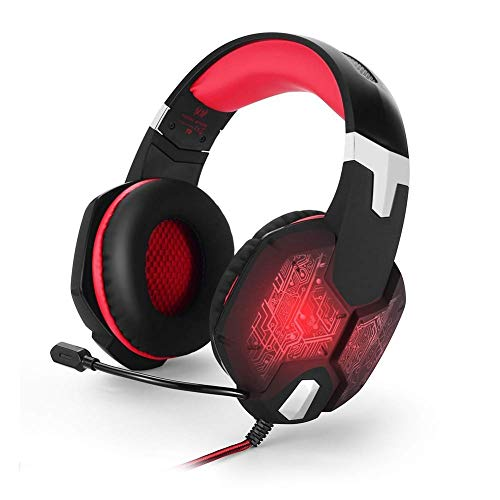 Earbuds Headset – Wired Gaming Headset, Head-Mounted Glow Game Headset with Rotatable Noise Reduction Mic for PS4…