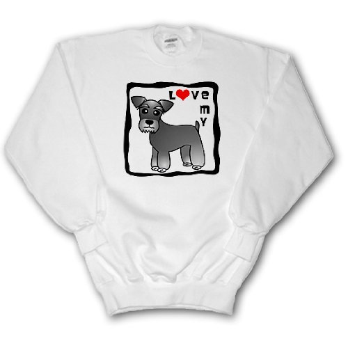 Janna Salak Designs Dogs - I Love My Miniature Schnauzer Dog - Banded Coat (Salt and Pepper) - Red Heart - Sweatshirts - Adult SweatShirt Large (ss_40884_3)