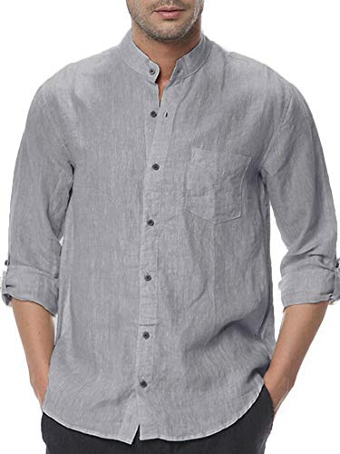 Stand Juniors T-shirt - Makkrom Mens Button Down Cotton Linen Shirts Long Sleeve Roll-up Stand Neck Casual Loose T-Shirts with Pocket Grey