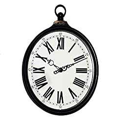YLCJ 8 inches in American Rural Style Retro Do Old Imitation Iron Oval Earrings Wall Clock Watch Living Room Bedroom Quartz Clock Home