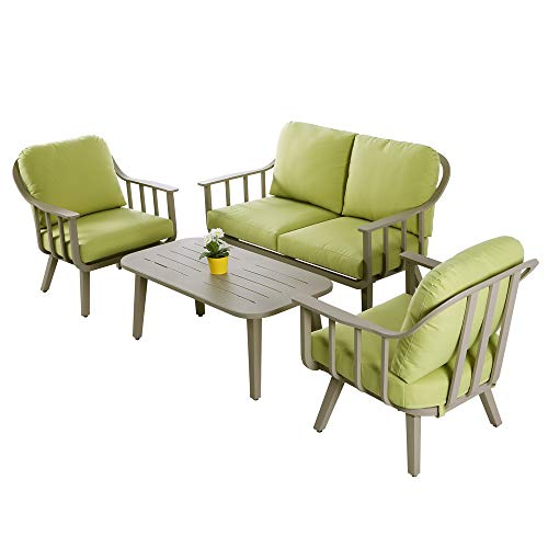 4 PC Aluminum Conversation Sofa Set Outdoor Sectional Furniture for Backyard Patio Porch Garden Poolside Balcony w/Green Cushion