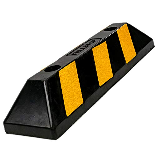 Fullstop Vehicle Parking Block, Black Commercial Heavy Duty Rubber Curb with 4 ScatterGlass Reflective Yellow Targets for Car, Truck, RV and Trailer Stop Aid, 22 Inches Long x 4 Inches High
