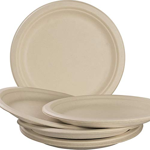 Biodegradable, Plant-Based, Tree Free, Disposable 9 Inch Plates 100 Pack. Sturdy, Gluten Free Wheatstraw Fiber is Certified Compostable, Eco-Friendly, Microwavable and Safe for Hot and Cold Foods