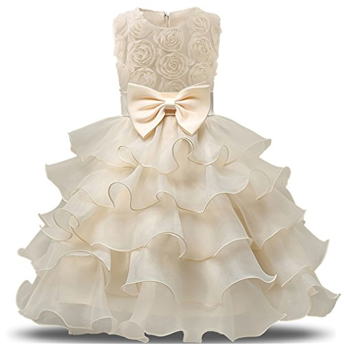 (Niyage Girls Party Dress Princess Flowers Ruffles Lace Wedding Dresses Toddler Baby Pageant Tulle Tutus 12-18 M Yellowish )