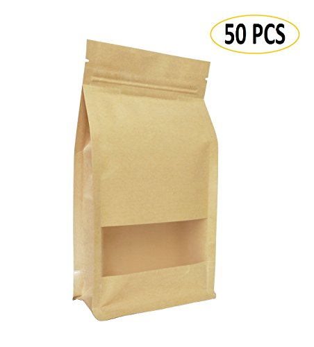 Heatseal Tea Bags (50 PCS Universal Kraft Paper Packing Bag, Zip Lock Stand Up Storage Pouch Package Bag With Clear Window for Storing Snacks, Beans, Seeds and Tea Leaves(6.3