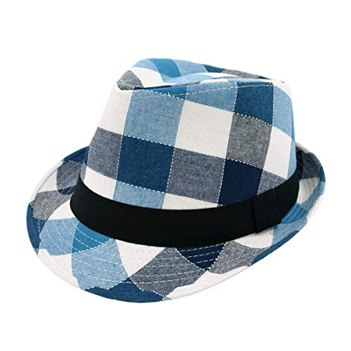 Premium Multi Color Plaid Stitch Black Band Fedora Hat, Blue
