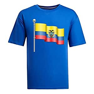 Custom Mens Cotton Short Sleeve Round Neck T-shirt, Printed with World Cup Images blue by Maris's Diary