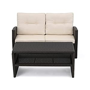 Awesome Christopher Knight Home 305351 Zora Outdoor Wicker Loveseat With Coffee Table Dark Brown And Beige Alphanode Cool Chair Designs And Ideas Alphanodeonline