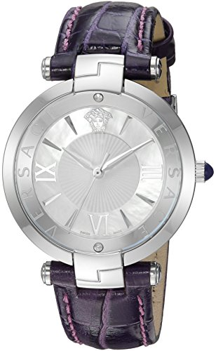 Versace-Womens-REVE-Swiss-Quartz-Stainless-Steel-and-Leather-Casual-Watch-ColorPurple-Model-VAI070016