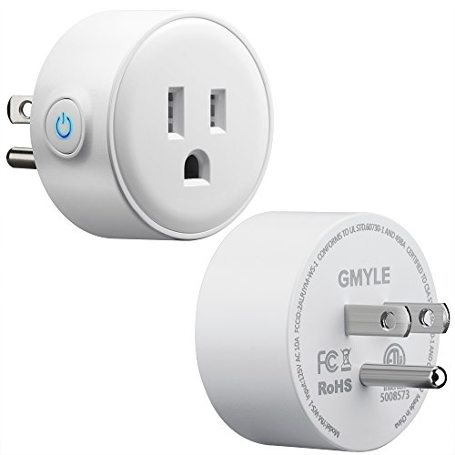 GMYLE WiFi Smart Plug Mini, with Outlet Wall Mount Hanger Stand Holder Bracket for Amazon Echo Dot 2nd, Remote Control Your Household Equipment from Everywhere, Compatible with Amazon Alexa (1 Pack)