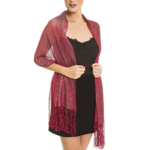 Shawl Wrap Fashion Scarf for Women Spring Winter: Evening Dresses, Wedding, Party, & Bridal - Shiny Ball Red