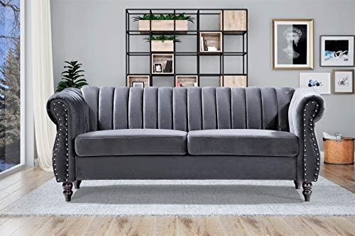 Container Furniture Direct Quinones Modern Chesterfield Channel Tufted Sofa