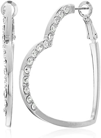 GUESS Womens Heart Shaped Clutchless Hoop Earrings